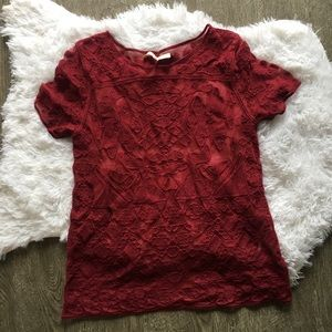 everleigh maroon lace top